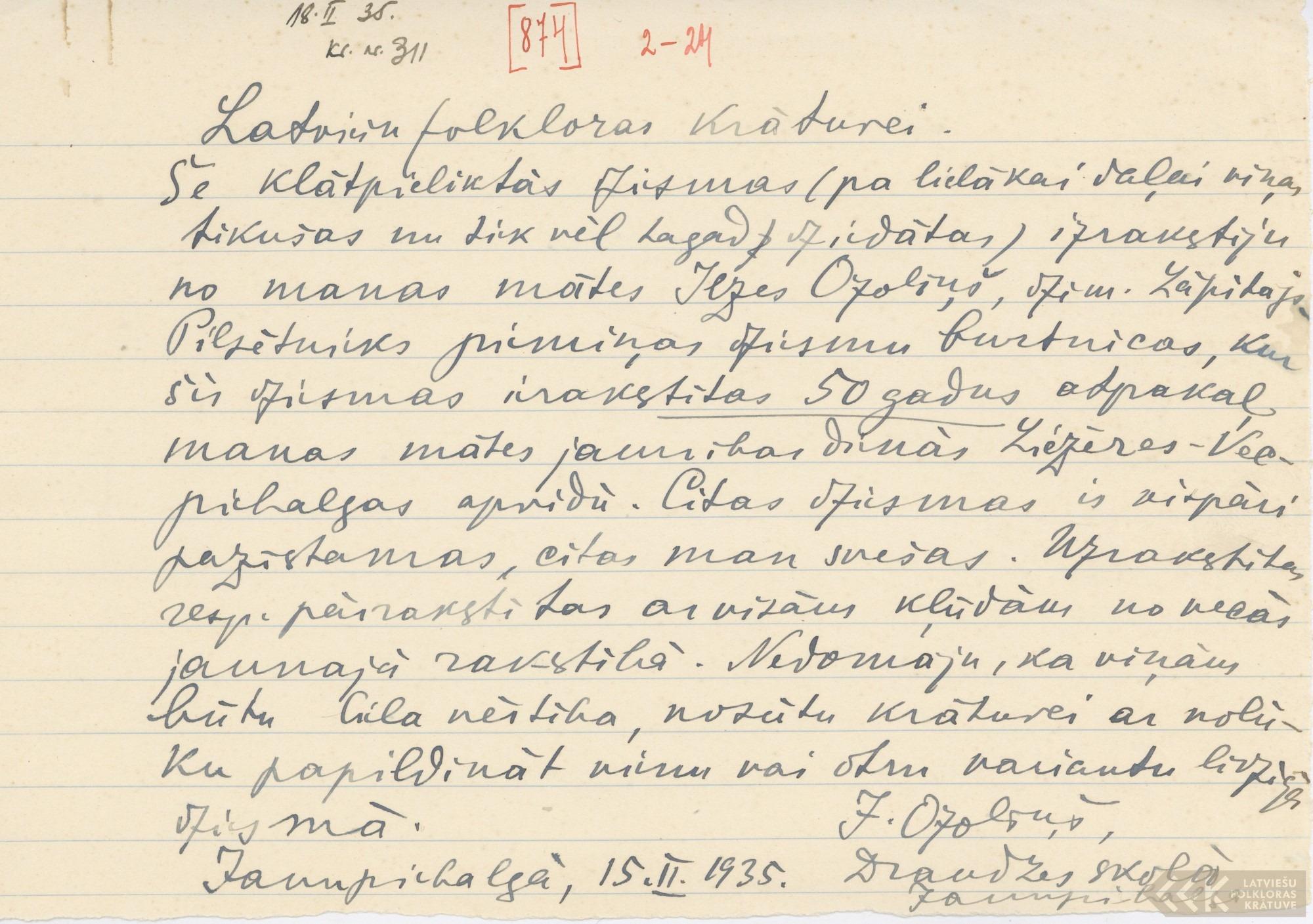 J. Ozoliņš no Jaunpiebalgas