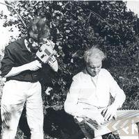 Folklorist Kārlis Arājs and composer Artūrs Salaks