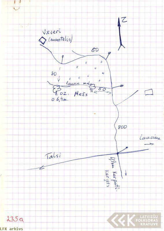 Zīmēta ozola atrašanās vieta