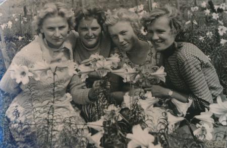 Silvija Priedniece ar darba kolēģēm Jelgavas dārzniecībā