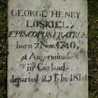 Georga Heinriha Loskīla, brāļu draudzes bīskapa, kapa plāksne