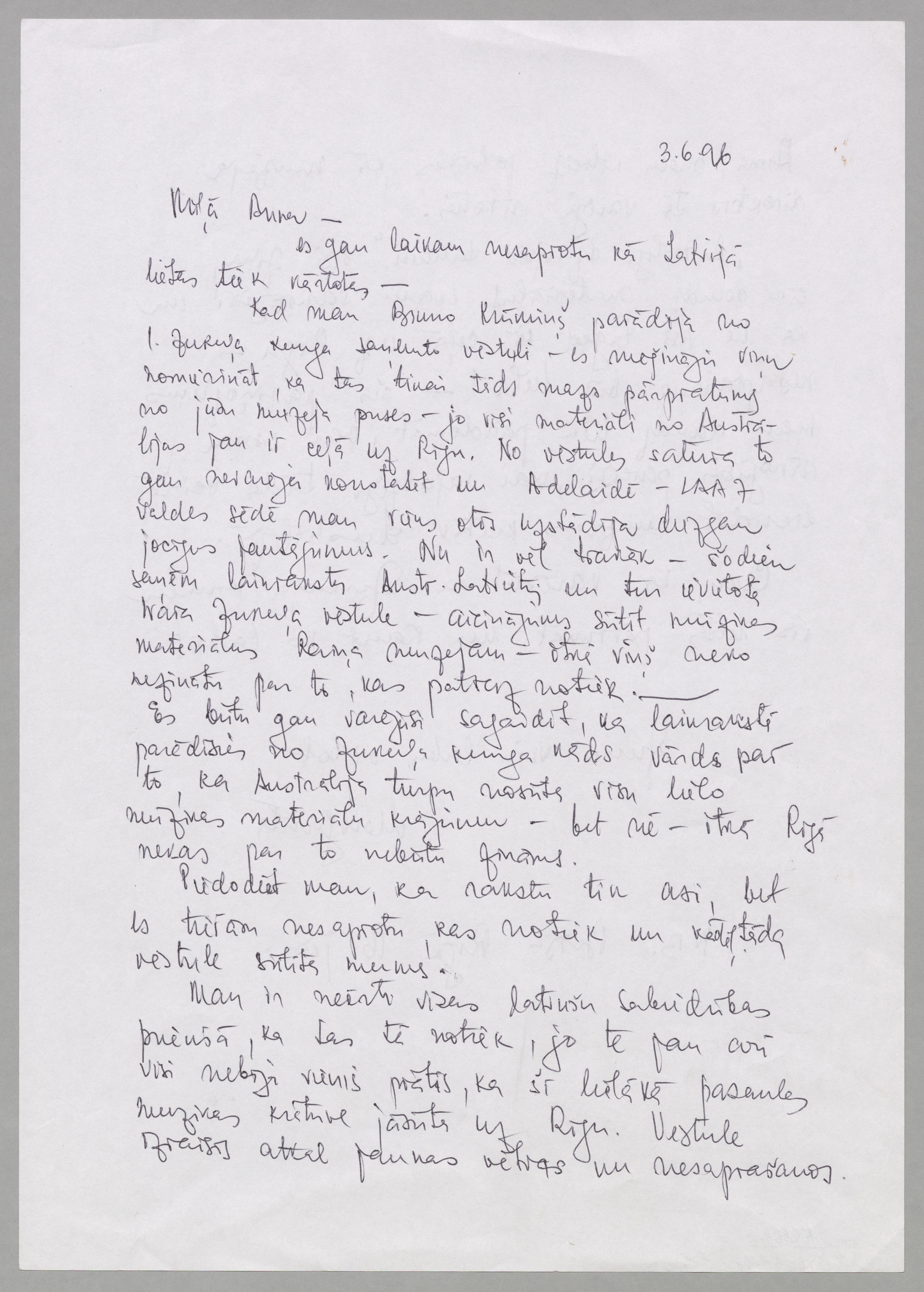 Margaritas Biezaites vēstule Annai Eglienai (pirmā puse)