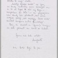 Margaritas Biezaites vēstule Annai Eglienai (otra puse)
