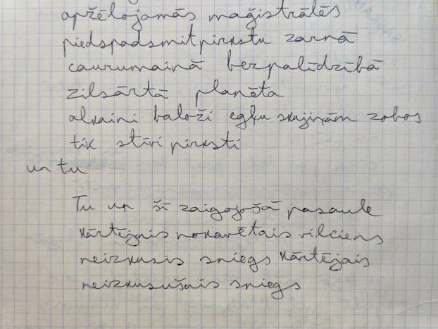 Manuscript of a poem by Jānis Indāns