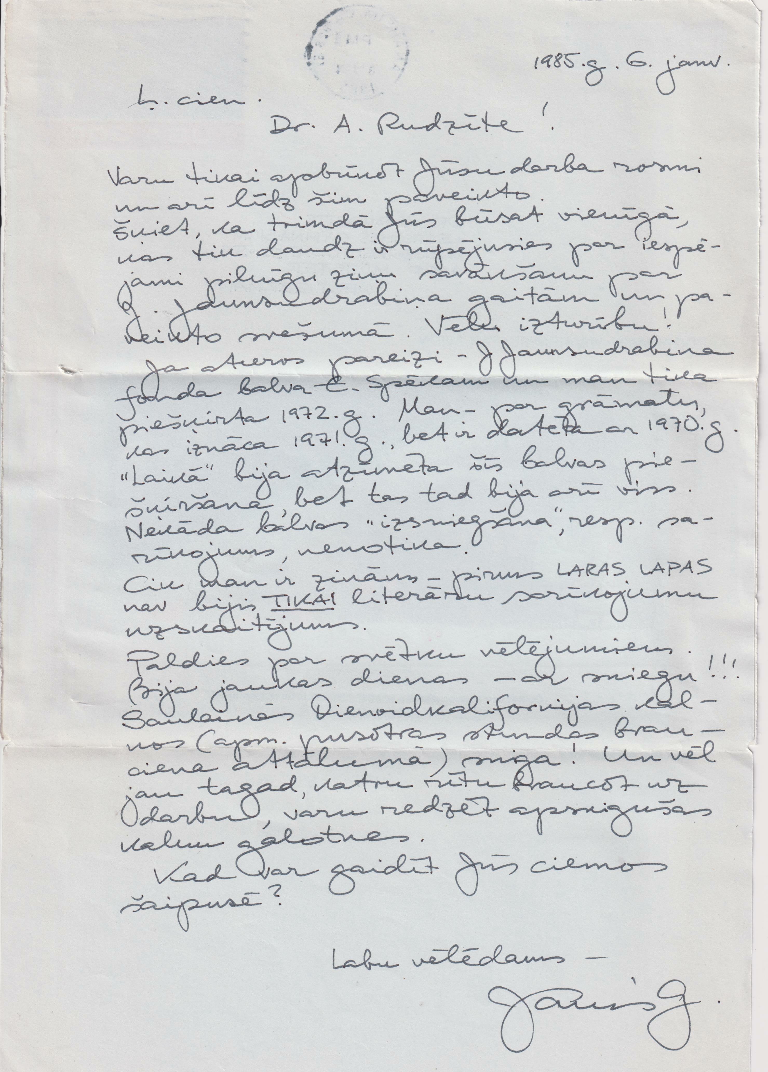 Jāņa Gorsvāna rokraksts
