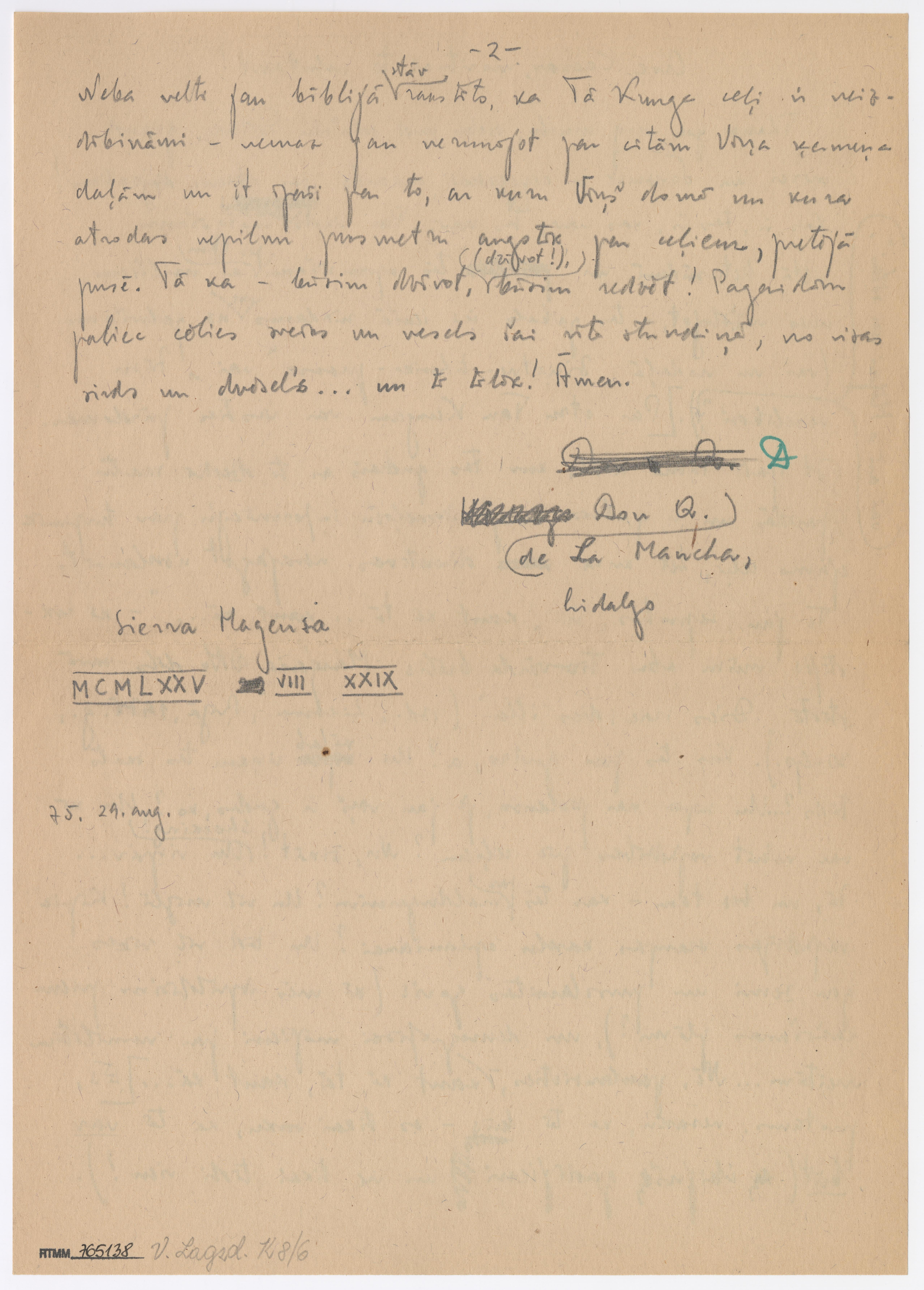 Viktora Lagzdiņa vēstule (otrā daļa)