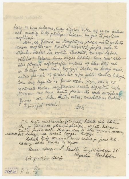 Lizetes Skalbes vēstule (otrā daļa)