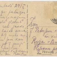 Emīlijas Benjamiņas pastkarte (otra puse)