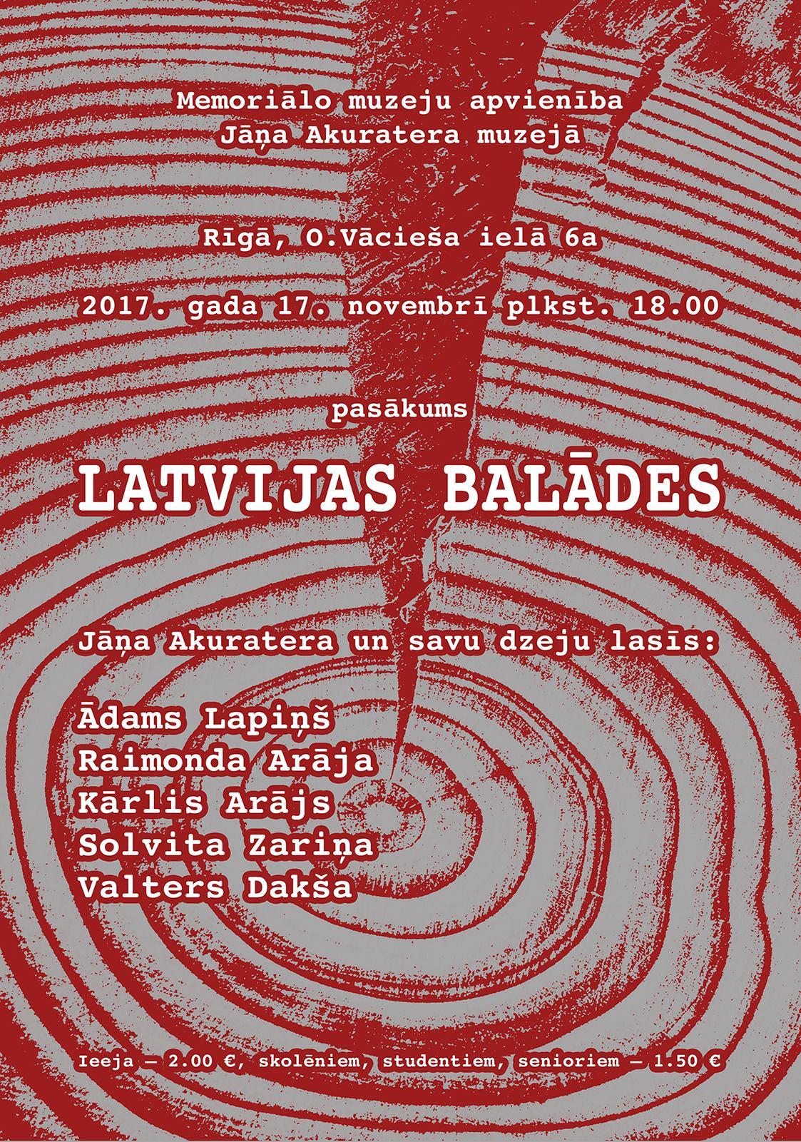 """Literārs vakars """"Latvijas balādes"""""""