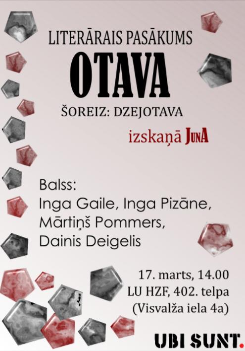 """Literārais pasākums """"OTAVA"""""""